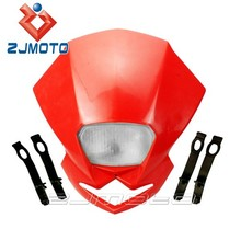 Universal Motorcycle Polypropylene Head Light H4 Dirt Bike Headlight Assembly Red Streetfighter Front Lights