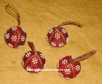 Zari Hand Embroidered Christmas Hanging Beads Ornaments