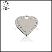 Top silver heart metal pendant necklace jewelry with diamonds