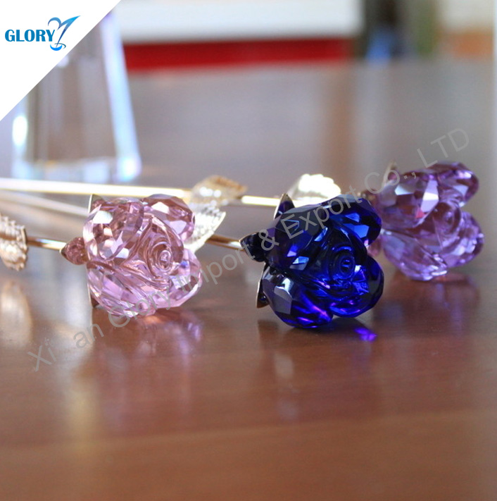 Cute Colorful Pink Purple Blue Red Crystal Rose Flower