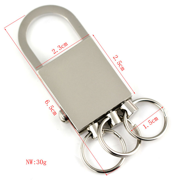 3 loops detachable keychain waist hanged key chain zinc alloy lock metal hard keychains