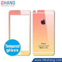 Hot Gradient Color Tempered Glass Screen Protector for iPhone 6 6 Plus Blue Pink Orange