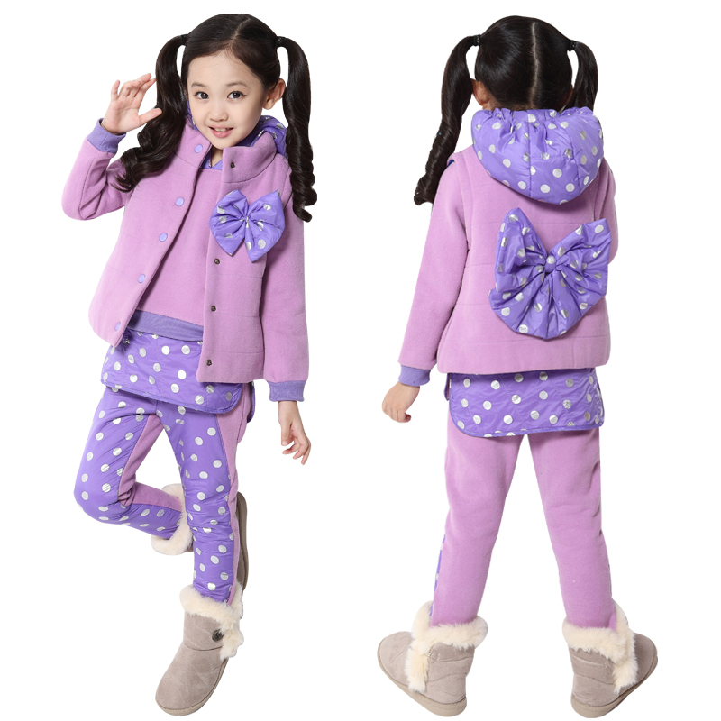 Autumn children's clothing female child autumn and winter 2013 child three piece set female child sweatshirt sports set