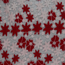 High quality embroidery flat flower eyelet embroidery fabric with 2 colors milk slik