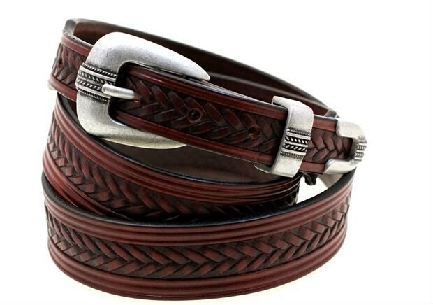 Chestnut Bridle Leather Belt Tapered embossed with 3pc buckle set