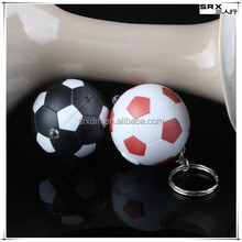 3d charm mini black red white soccer football shaped key chain,custom micro ball shaped key chain China manufacturer