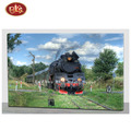 Spring Scenery Train With LED Non Frame Paintings for Wall Decoration