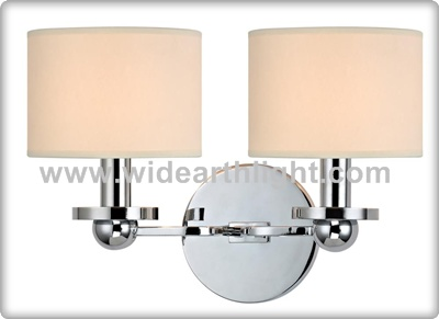 UL Listed Energy Saving Bulb Chrome Hotel Bedroom Wall Lamp With Double Shades W60381