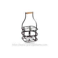 4-Bottle Metal Wine Holder in Black-1 4 pack Beer Can Holder