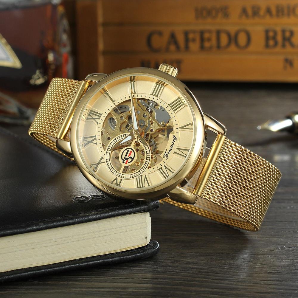 Forsining Transparent Case 2017 Fashion Men Watches Top Brand Luxury Mechanical Skeleton Wrist Watch Clock Men