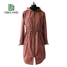 Popular western style hooded anorak jacket for ladies cotton zipper long parka/spring brown short coat