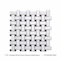 "12""x12"" Basketweave Mosaic Tiles White Marble with Black Dots"