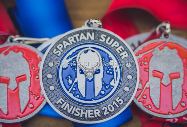 spartan super finisher 2016 stainless steel metal medals with printed ribbon