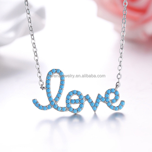 SAP2075 925 Sterling Silver Loave Shaped Initial Necklace, Turquoise Necklace