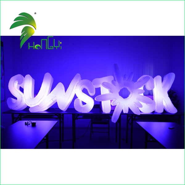 Custom Advertising Light Up Sign / Led inflatable Lighting Inflatable Sign for Decorations