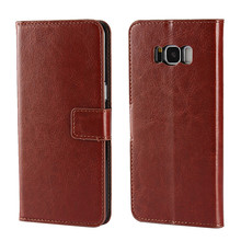 For samsung galaxy s8 crazy horse leather wallet phone case with inside TPU Cell phone cover