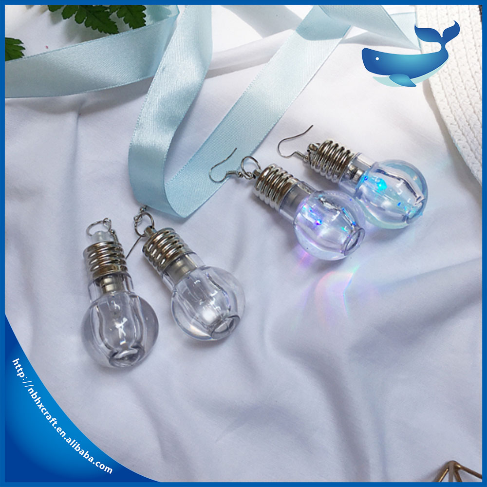 Colorful light bulbs earrings new fashion design