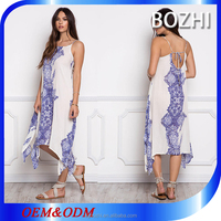 Hippie girl new pattern blue and white floral boho long summer dresses