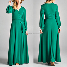 Elegant New Style Fashion Dresses Wholesale Plus Size Loose Fit Beach Party Green Wrap Maxi Bandage Dresses For Women Sexy