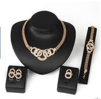 New Products Exaggerated Big Choker Necklace Vintage Chunky Statement Chain Necklace Bracelet Earrings Ring Jewelry Sets