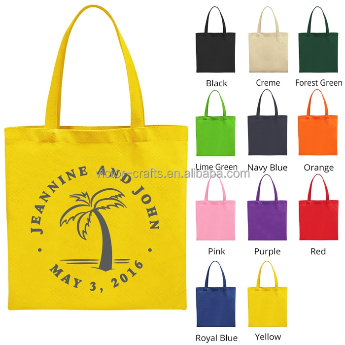 Yellow color travelling bags large size tote bag canvas