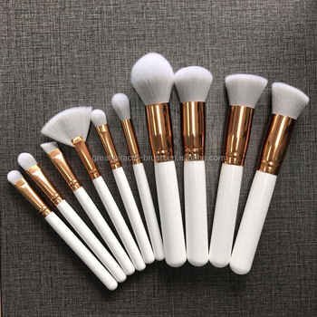 10pcs private label makeup brush set white wood handle brushes makeup cosmetic with quality grey hair