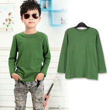 3323# Stock clothing 2014 hot sale Children's cotton long sleeve T-shirt