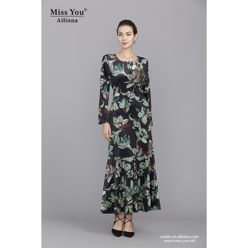 801973Plus sized printed velvet long dress for all women