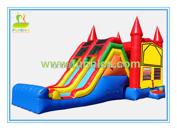 2014 newest Inflatable Combo Castle Dry Slide with spiderman