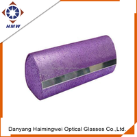 bespoke soft purple leather handmade eyeglasses case for optical with silver metal part flip