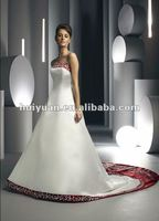 Satin emboridery flowers backless white and red wedding dress