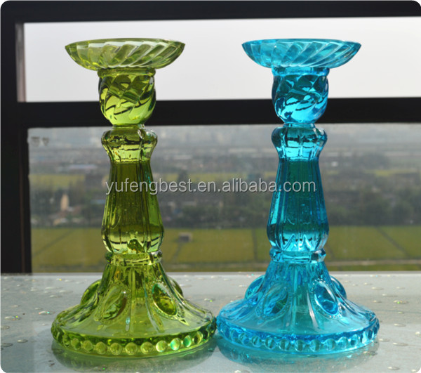 Table glass candle holder in colored Rome
