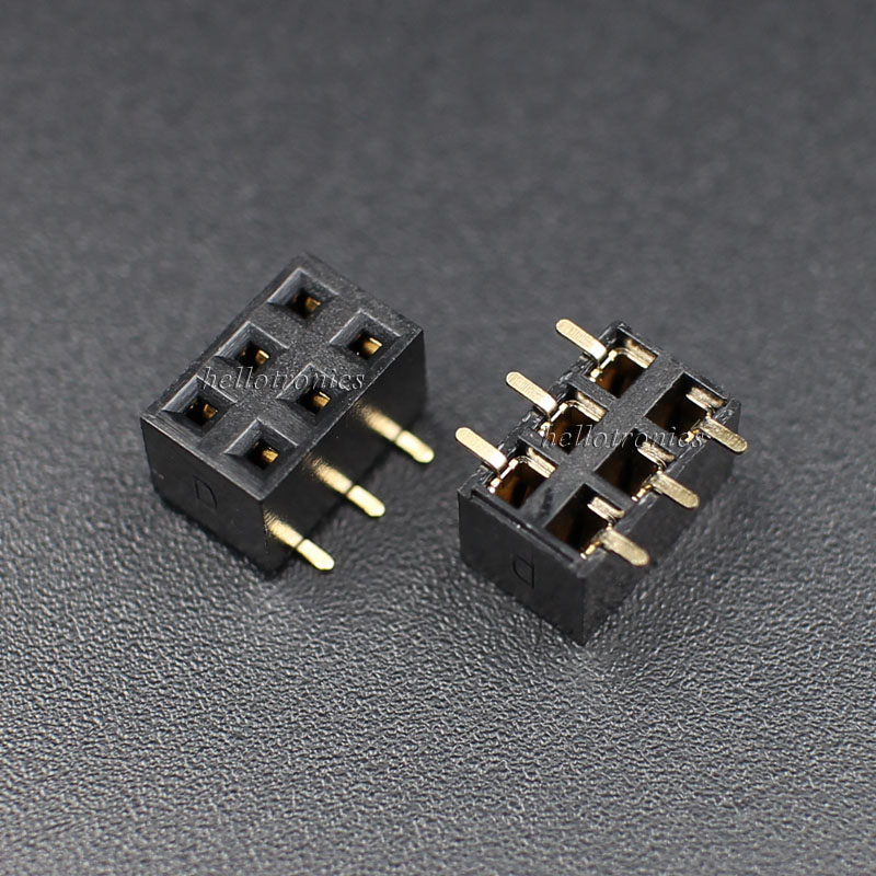 2x3 Pins SMD 2.54mm Pitch PCB Female Stackable Header