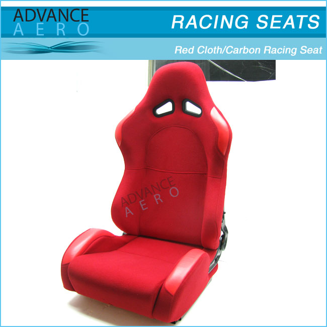 SOFT RACING SEATS FOR LEXUS 2 X RED CLOTH HARD BACK RACING SEATS CARBON