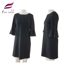 Chinese Conservative round collar one piece dress with Horn sleeve
