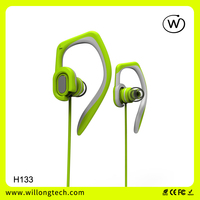 sport earphone with hook in ear earbuds clip on stereo headphone with mic OEM ODM ear piece from manufacturer