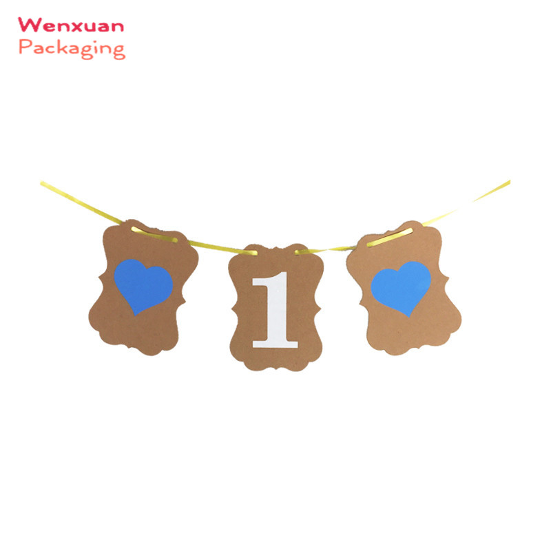 Blue heart DIY 1st birthday party bunting banner