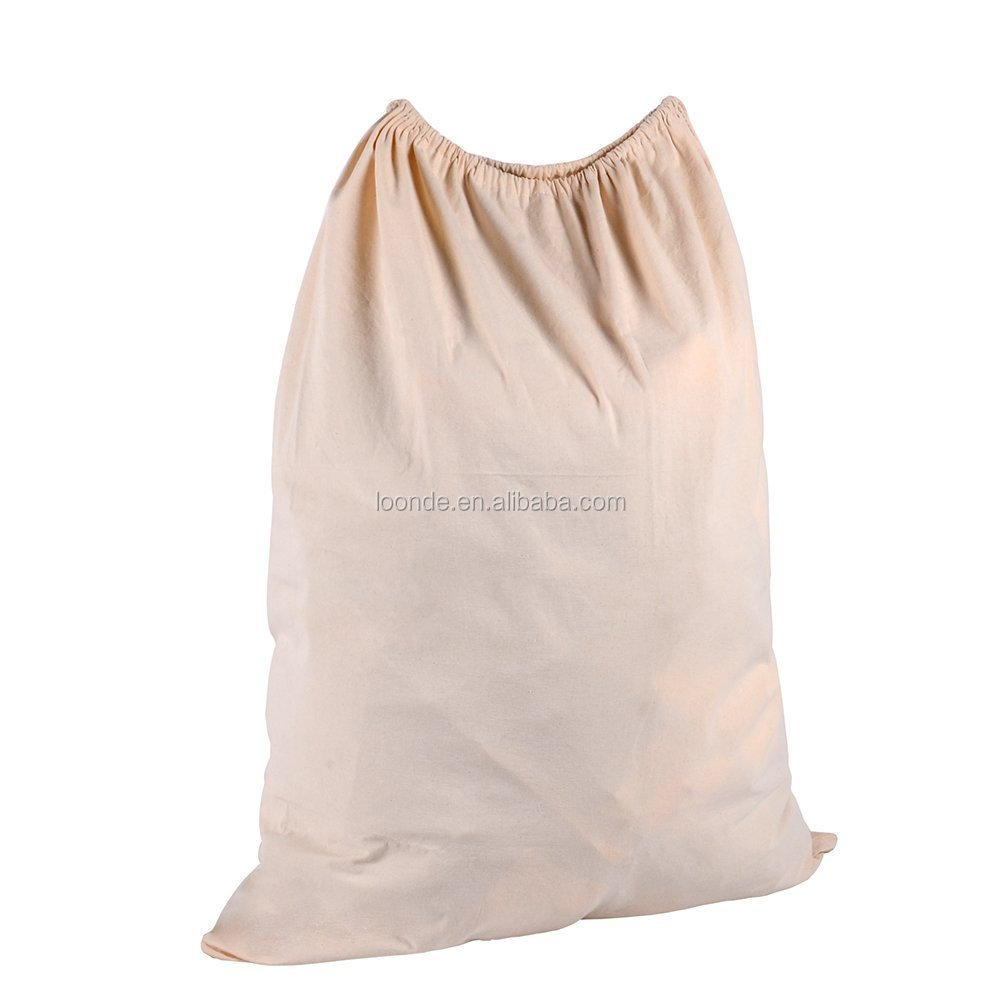 Natural extra large monogrammed cotton canvas industrial laundry bag