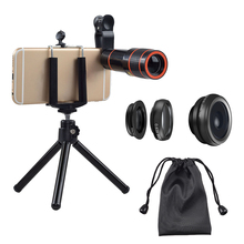 External camera for android phone HD no darker corner 0.63x wide angle 12x zoom telephoto lens with mini tripod for smartphone