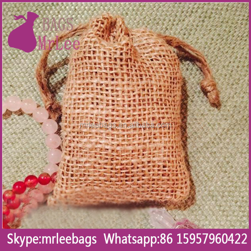 Custom small drawstring jute burlap favor bags with custom printing