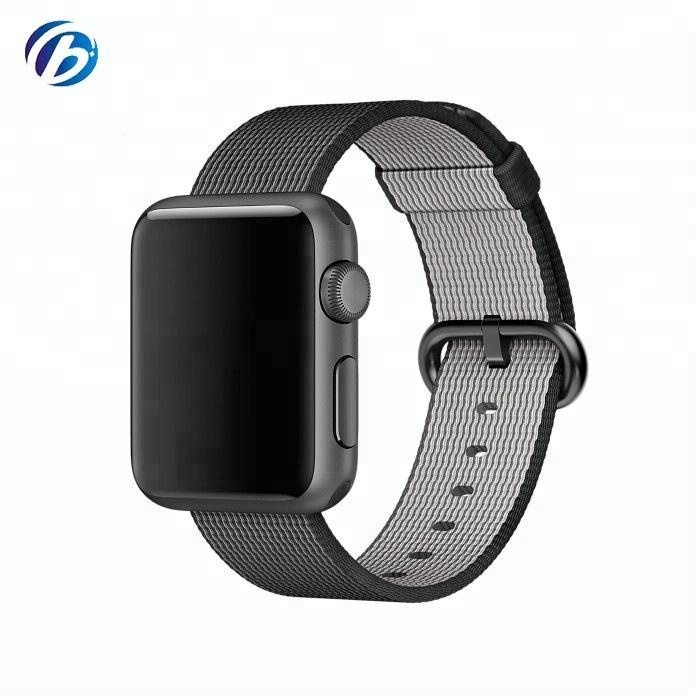 Guangdong Factory Woven Nylon Fastener Adjustable Closure Wrist Woven Nylon Replacement Strap for <strong>apple</strong>