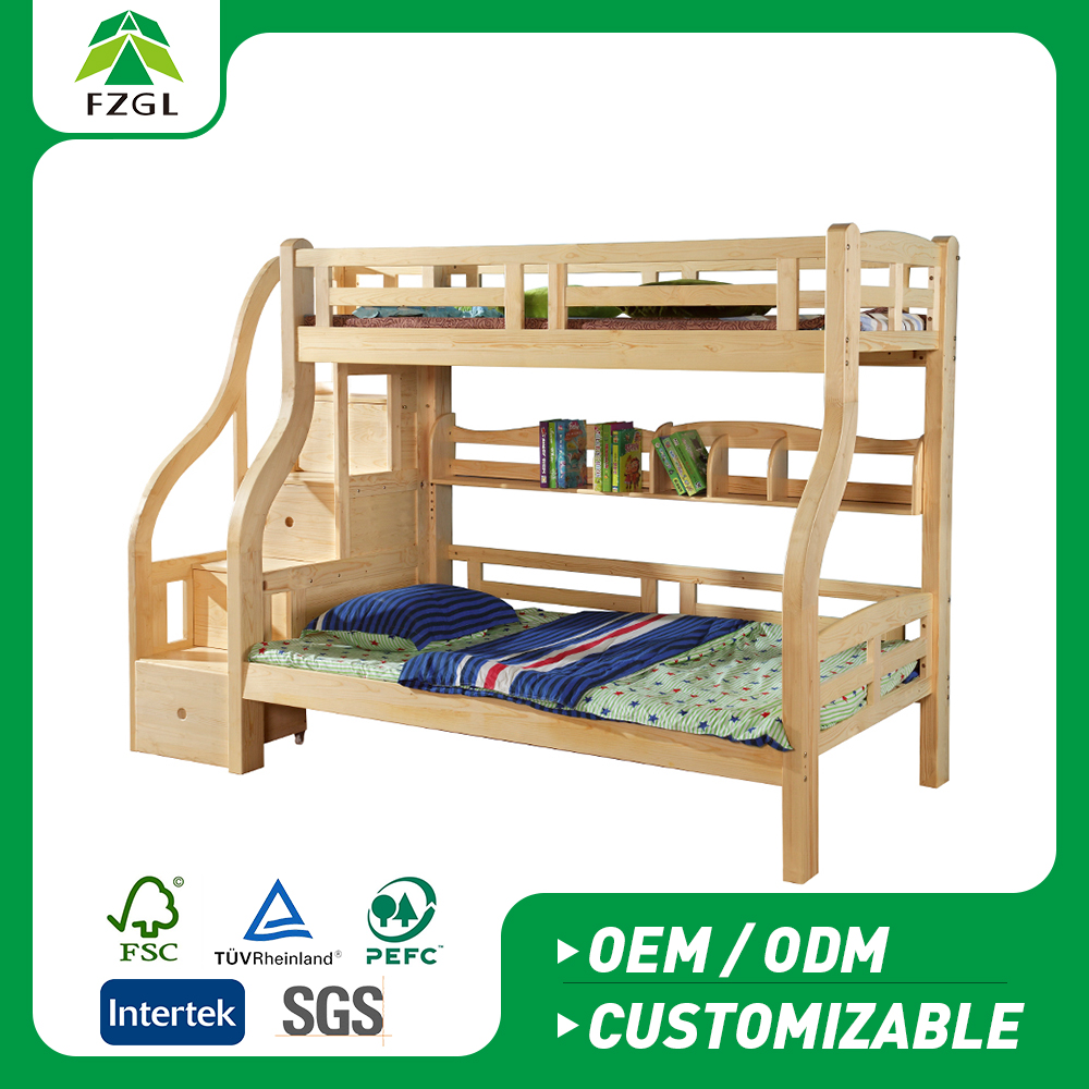 Children Step bunk bed with drawer Family bulk bunk beds for 2 kids
