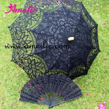Victorian Old West Civil War Edwardian Style black lace fan and parasol
