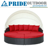 Outdoor Rattan Daybed With Canopy Round