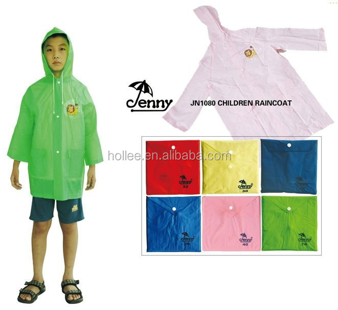 Promotional Long PVC Children Rainwear with hood and sleeves