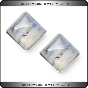 925 Sterling Silver Transparent White Square Moonstone Crystal Stud Earrings