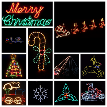 Animated Running LED Santa Sleigh Reindeer Silhouette Light for Christmas Outdoor Display