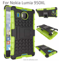 Tire Stripe Shock Absorbing Hybrid Rubber Combo Silicone Armor Hard Case Cover for Nokia Lumia 950XL Green