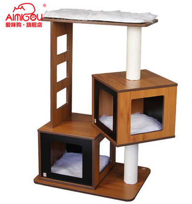 Aimigou Beige Cat Tree Tower Condo Scratcher Furniture Kitten House Hammock