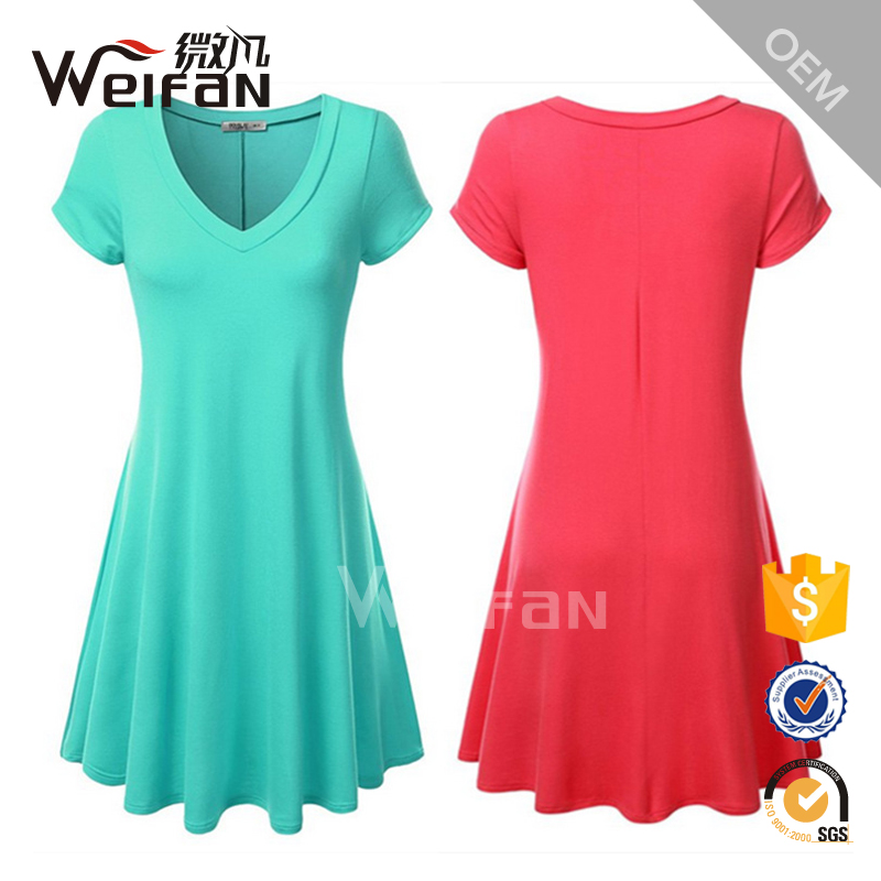 Candy Color Simple V Neck Ladies Formal Dress Patterns